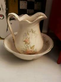 Large antique pitcher and bowl