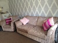 Beautiful condition 2 / 3 seater sofa and armchair beige gold brown fabric
