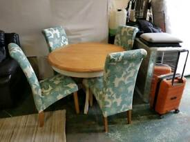 Solid extending table & 4 teal chairs