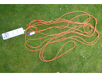 Camping electrical hook-up cable. 3 sockets, RCD protected. Very good condition.