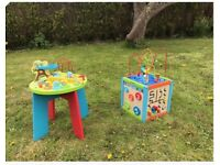 Children's wooden toys activity cube table and cube, excellent condition