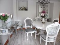 White Italian Dining Table 4 Louis Style Chairs In Silver Grey Crushed Velvet