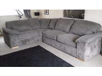 Corner Sofa. Grey material. Very chunky!