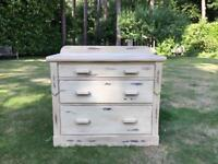Hand Painted vintage shabby chic chest of drawers