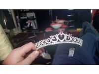 3 x Pink and silver heart tiara