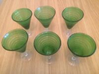 Vintage set of six Venetian wine goblets