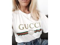 Ladies washed t shirt with Gucci print