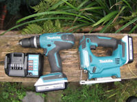 18v Cordless Makita Drill, Jigsaw, Charger + 2 Batteries Nearly New! Cost £240!