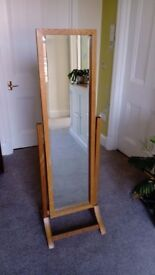 Tall floor-standing mirror with oak frame