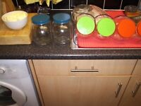 6 LARGE STORAGE JARS AND 17 DIFFERENT SIZE CONTAINERS