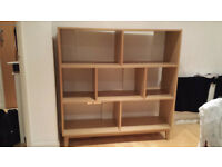 Bookshelves - Hygena Merrick Storage Unit - Solid Pine with Oak Effect.