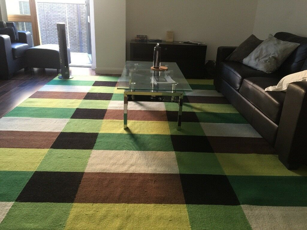 Ikea Stockholm Rug Flatwoven Chequered Green 250x350 Cm Like New