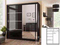 AMAZING OFFER! WOW Brand New Berlin Full Mirror 2 Door Sliding Wardrobe in Black Walnut White