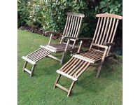 2 solid wooden steamer chairs/ sunloungers with brass fittings £80 tel 07966921804