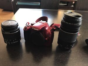 Canon rebel T3 with a full lens kit and camera bag