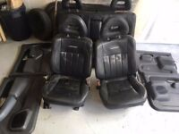 MITSUBISHI L200 WARRIOR FULL BLACK LEATHER TRIM SEATS AND DOOR CARDS 1998-2007