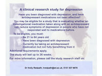 Participants wanted for clinical research study for depression. RECRUITMENT ENDING SEP 2017