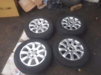 Golf mk 5 alloy wheels with good tyres