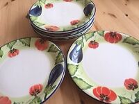 6 Hand painted plates and 6 pasta bowls
