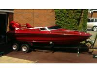 """""""DANCES WITH WAVES"""" 14 FT SPEEDBOAT WITH TRAILER OUTBOARD AND COVER"""