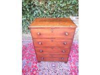 GENUINE GEORGIAN ANTIQUE GENTLEMAN BATCHELORS MAHOGANY CHEST OF DRAWERS..IDEAL FOR SMALL BEDROOM
