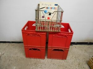 "Milk Crates lot of 5, 1 wire and 4 plastic ""all are record size"""