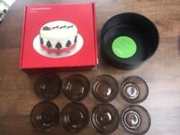 Baking items: Cake tin, John Lewis Cake decorating kit, 8 Lovenware glass ramekins. Collect Fulham