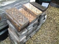 32 Victorian Staffordshire blue and red star patterned paving bricks