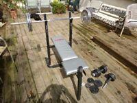 York weight bench, barbell + dumbells