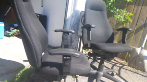Two high back office chairs
