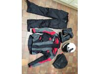 Motorcycle helmet, boots, jacket and trousers for sale. Or sold separately