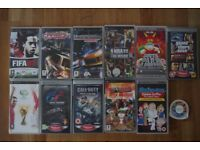 12 PSP Cartridges Including 10 Games And 2 Films