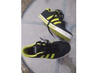 Size 9 Mens trainers ADIDAS NEO black/lime