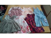 Baby girls clothes 6-9months. 5 Dresses and minnie mouse denim dungarees