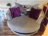 Grey/purple sofa and large cuddle chair