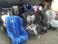 Car seats for 9kg upto 18kg(9mths to 4yrs) several available-all fully working,washed and cleaned