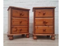 Pair Of Solid Pine Three Drawer Bedside Cabinets (DELIVERY AVAILABLE)