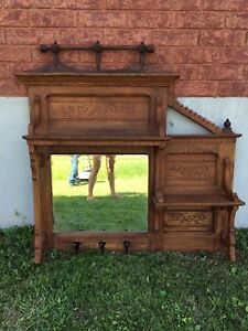 Antique entrance way mirror / coat rack