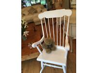 A SUPER SHABBY CHIC ROCKING CHAIR NO MARKS ECT READY FOR A NEW HOMEE IDEAL FOR A NURSERY