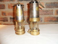 A Pair Of Brass Minors Lamps - Very Nice Original Condition