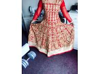 Indian Red & Gold Anarkali Dress