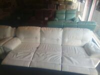White leather recliner suite