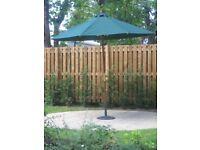 2.60m diameter Green Hardwood Garden Umbrella with brass fittings and cast iron base