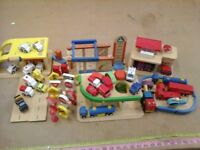 60piece Play City wooden vehicle /building set includes 26vehicles