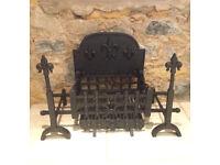 Beautiful Fleur-de-lis design cast iron fire grate, used buy in excellent condition
