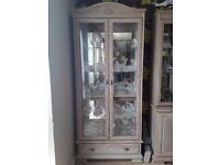 Solid limed oak glass display cabinet