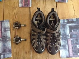 Cycling Shoes (SPD) size 9.5 and Deore XT SPD pedals