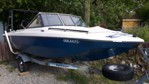 16' tri hull open bow with 115hp mercury outboard