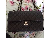 Chanel Timeless Black Quilted Lambskin Medium Handbag with Silver Detail
