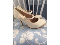 Ivory Satin Wedding shoes with bow detail